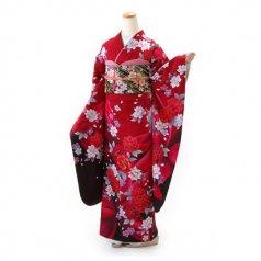 振袖 フルセット 花柄 Mサイズ 赤・ワイン系 (中古 リユース 美品) 16557