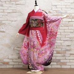 振袖 フルセット 辻が花 LLサイズ 赤・ワイン系 (中古 リユース 美品) 12033