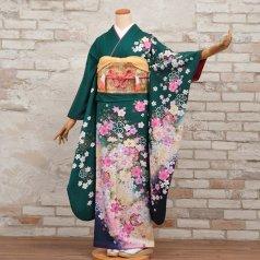振袖 フルセット 花柄 Mサイズ グリーン系 (中古 リユース 美品) 96301