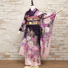 振袖 フルセット 花柄 Mサイズ 紫系 (中古 リユース 美品) 56503