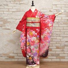 振袖 フルセット 花柄 Mサイズ 赤・ワイン系 (中古 リユース 美品) 16480