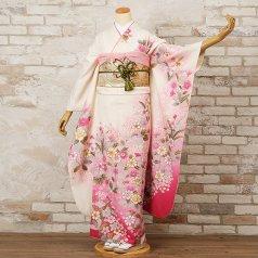 振袖 フルセット 花柄 Lサイズ 白・グレー系 (中古 リユース 美品) 86236
