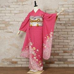 振袖 フルセット 花柄 Mサイズ ピンク・オレンジ系 (中古 リユース 美品) 46075