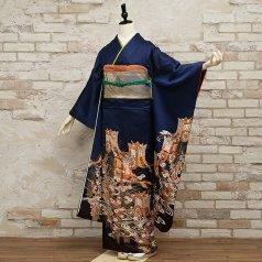 振袖 フルセット 古典柄 Mサイズ 青・紺系 (中古 リユース 美品) 20021