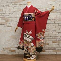 振袖 フルセット 古典柄 Mサイズ 赤・ワイン系 (中古 リユース 美品) 10063