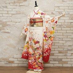 振袖 フルセット 花柄 Mサイズ 白・グレー系 (中古 リユース 美品) 86556