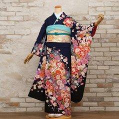 振袖 フルセット 花柄 Mサイズ 青・紺系 (中古 リユース 美品) 26420