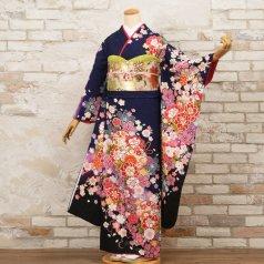 振袖 フルセット 花柄 Lサイズ 青・紺系 (中古 リユース 美品) 26420
