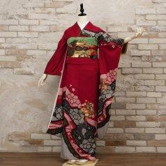 振袖 フルセット 絞り柄 Mサイズ 赤・ワイン系 (中古 リユース 美品) 13027
