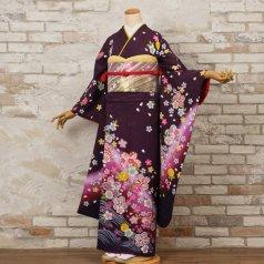 振袖 フルセット 花柄 Lサイズ 紫系 (中古 リユース 美品) 56561