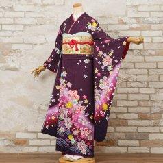 振袖 フルセット 花柄 Mサイズ 紫系 (中古 リユース 美品) 56561