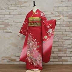 振袖 フルセット 花柄 Lサイズ 赤・ワイン系 (中古 リユース 美品) 16470
