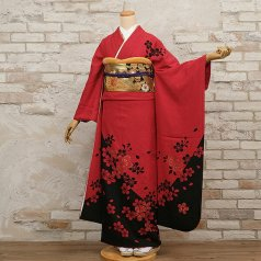 振袖 フルセット モダン柄 Lサイズ 赤・ワイン系 (中古 リユース 美品) 15030