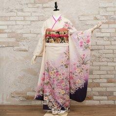 振袖 フルセット 花柄 Mサイズ 白・グレー系 (中古 リユース 美品) 86196