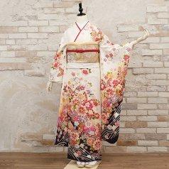 振袖 フルセット 花柄 Mサイズ 白・グレー系 (中古 リユース 美品) 86452