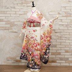 振袖 フルセット 花柄 Lサイズ 白・グレー系 (中古 リユース 美品) 86452