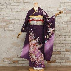 振袖 フルセット 花柄 Mサイズ 紫系 (中古 リユース 美品) 56470