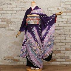 振袖 フルセット 花柄 Mサイズ 紫系 (中古 リユース 美品) 56217