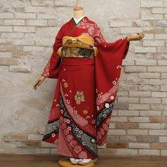 振袖 フルセット 絞り柄 Lサイズ 赤・ワイン系 (中古 リユース 美品) 13025