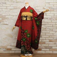 振袖 フルセット 古典柄 Mサイズ 赤・ワイン系 (中古 リユース 美品) 11030