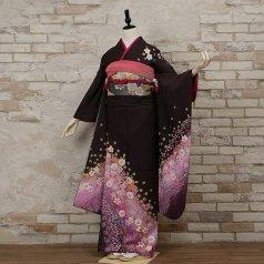 振袖 フルセット 花柄 Lサイズ 紫系 (中古 リユース 美品) 56288