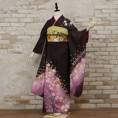 振袖 フルセット 花柄 Mサイズ 紫系 (中古 リユース 美品) 56288