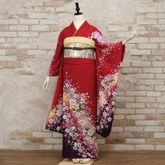 振袖 フルセット 花柄 Mサイズ 赤・ワイン系 (中古 リユース 美品) 16558