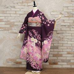 振袖 フルセット 花柄 Lサイズ 紫系 (中古 リユース 美品) 56246