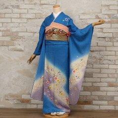 振袖 フルセット 花柄 Lサイズ 青・紺系 (中古 リユース 美品) 26043