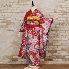 振袖 フルセット 花柄 Mサイズ 赤・ワイン系 (中古 リユース 美品) 16410