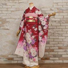 振袖 フルセット 花柄 Lサイズ 赤・ワイン系 (中古 リユース 美品) 16298