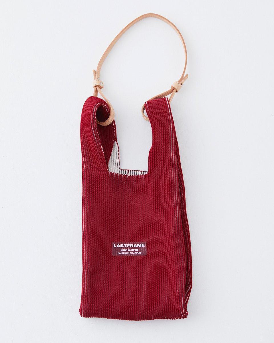 LAST FRAME リブバイカラーバッグ バーガンディ x アイボリー - ¥22,500