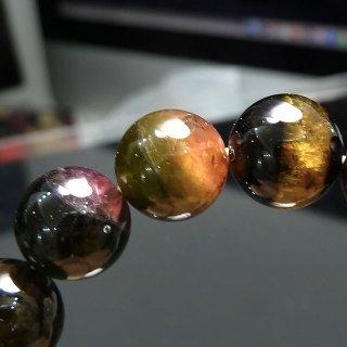 天然石 バイカラートルマリン 9mm ブレスレット tou09002d