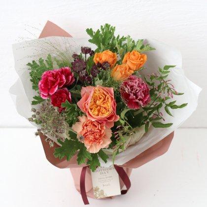 ローズピンクの立つ花束(L)