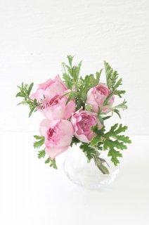 バラのブーケ&フラワーベースセット(薄いピンク)