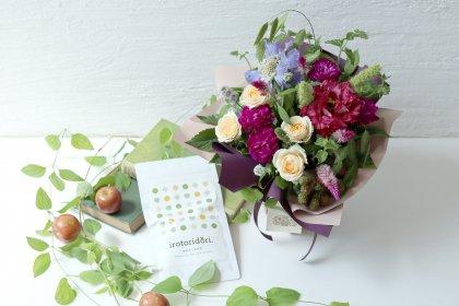 【敬老の日】抹茶入り玄米茶&立つ花束M