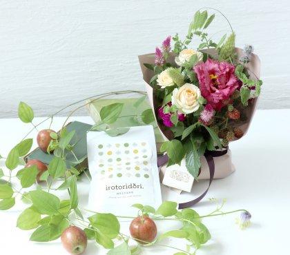 【敬老の日】抹茶入り玄米茶&立つ花束S