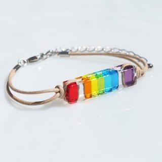 虹色ガラス『にじ』ブレスレット【長め、アンクレット、金属フリーに変更可】【受注制作】