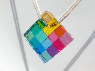 幸運ガラス『しあわせ【大】【虹】』ネックレス【受注制作】