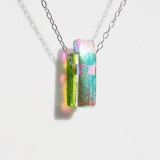 小さな光るガラス『なの【若葉】』チェーンネックレス【綿紐、シルバー925変更可】【受注制作】