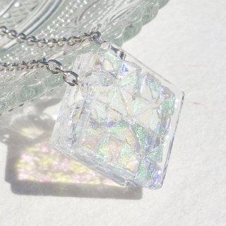 4月の誕生石ガラス『ダイヤモンド【premium】』シルバー925ネックレス【アジャスター、箱ラッピング付き】【受注制作】