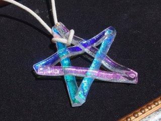 【premium】キラキラガラスのお星様『スター【オーロラ】【寒色系】』ネックレス【受注制作】