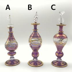 【SALE】吹きガラスの香水瓶 M (約15-17cm)バイオレット
