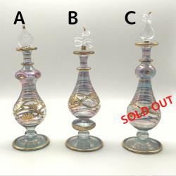 【SALE】吹きガラスの香水瓶 M (約15-17cm)パープルグレー