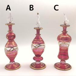 【SALE】吹きガラスの香水瓶 M (約15-17cm) レッド