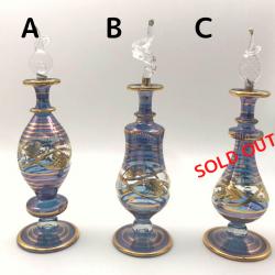 【SALE】吹きガラスの香水瓶 M (約15-17cm)ブルー