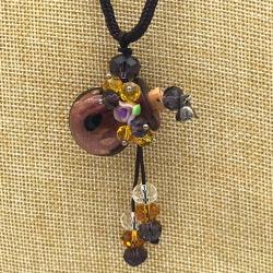 【SALE】 小さなガラス瓶のアロマペンダント  紫壺・花(メール便可)長さ調節可能・香りを胸元に♪