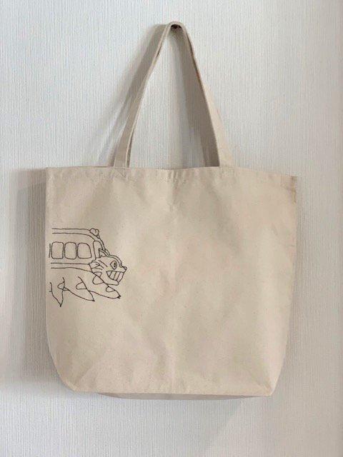 バックステッチトートバッグ (ネコバス)