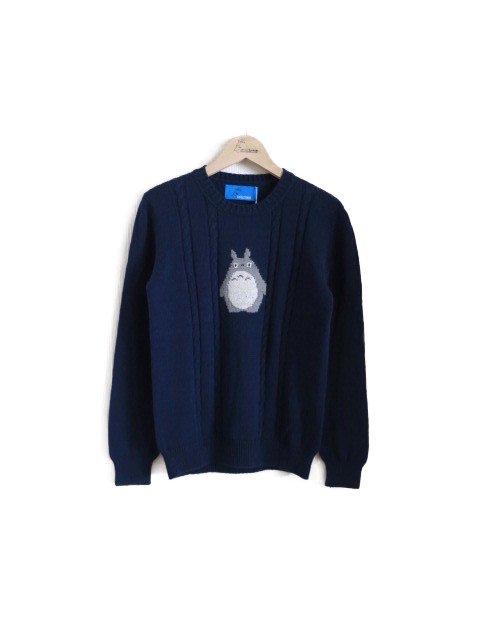 トトロ手編み縫いケーブルニット (大人・ネイビー)