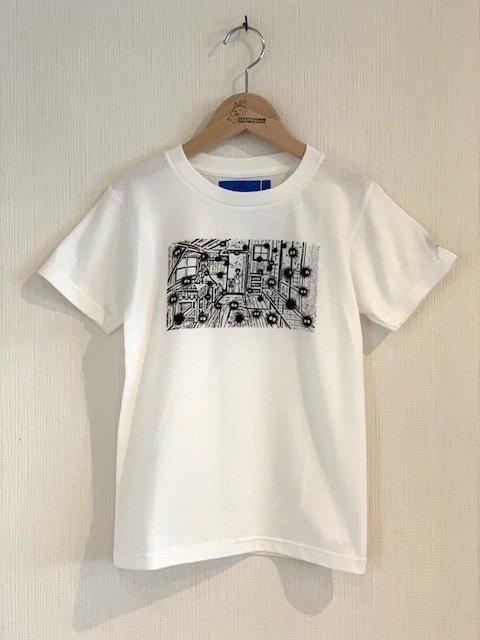 くろすけスタンプTシャツ/土間 (ホワイト・小人)